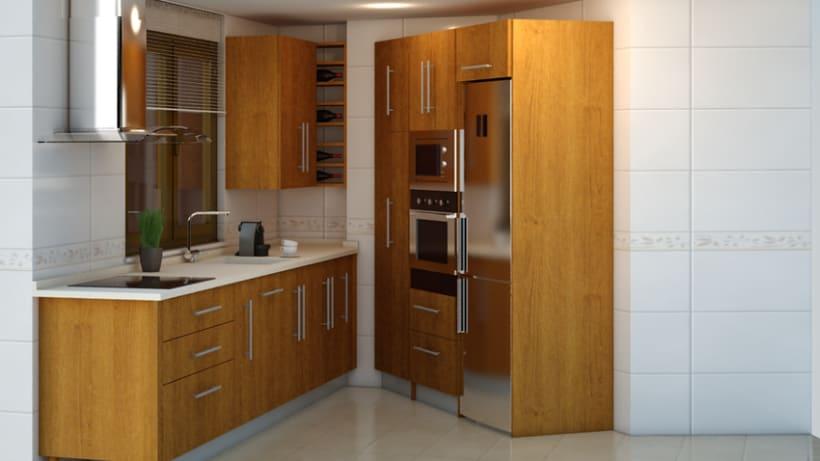 Cocina 3d domestika for Cocina 13 metros cuadrados