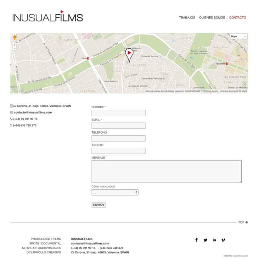 Inusual Films – Diseño web 4