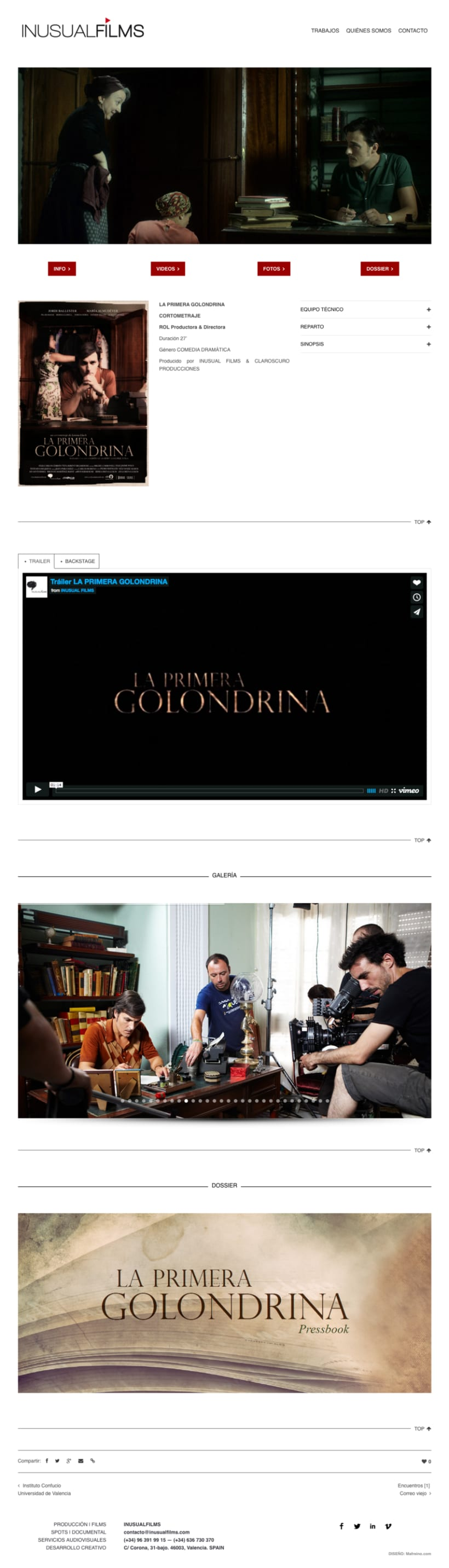Inusual Films – Diseño web 3