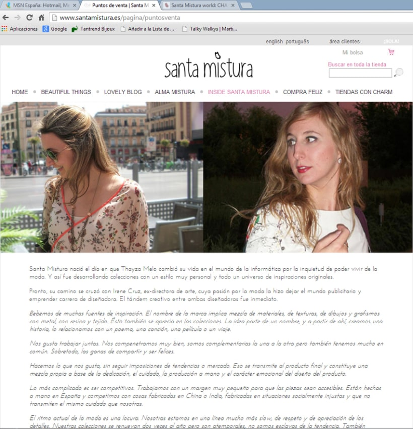 Web Design for Santa Mistura 3