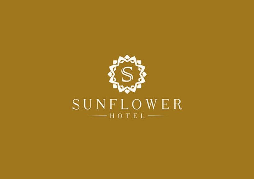 Sunflower logo design domestika for Hotel name design
