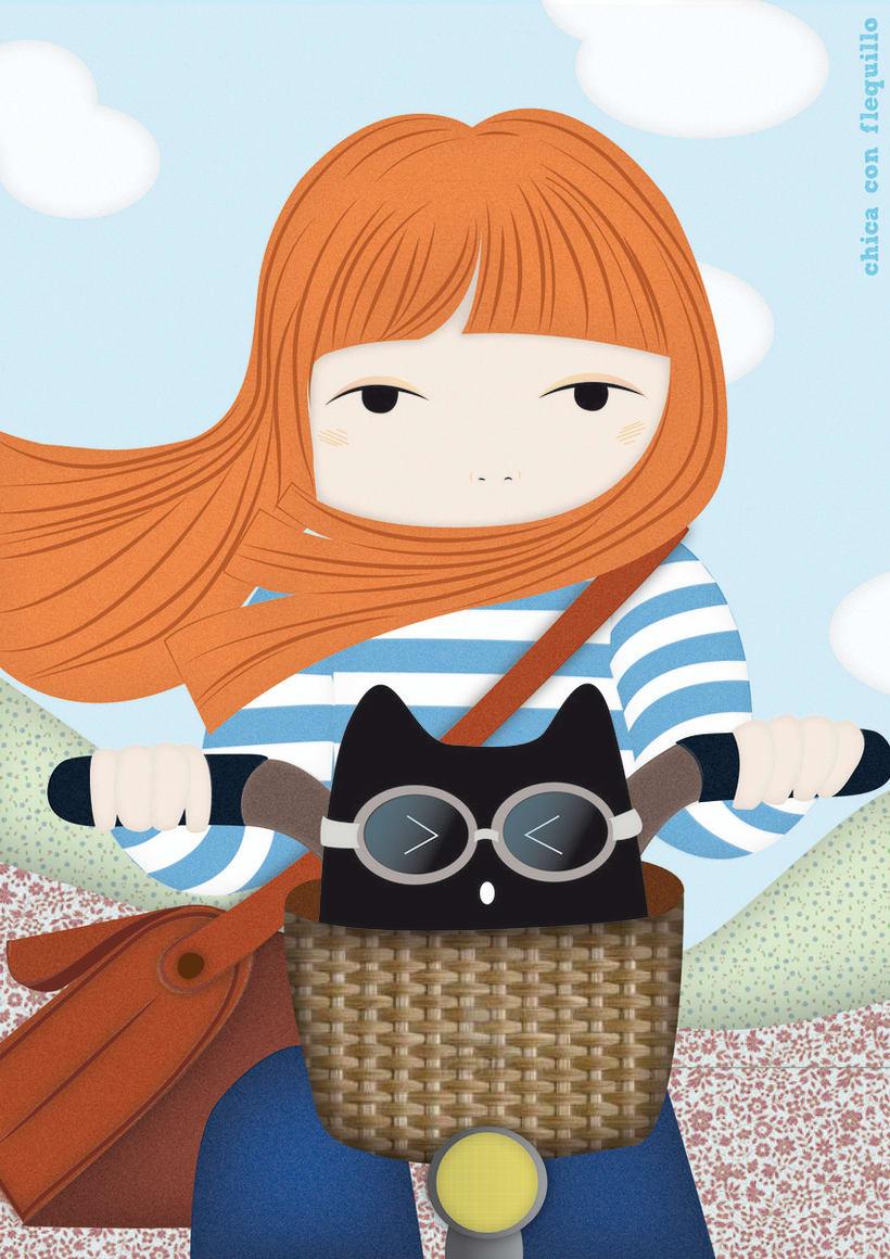 Ilustraciones Chica y gato -1