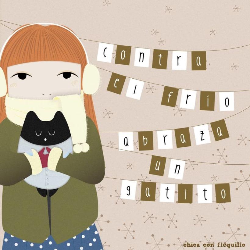 Ilustraciones Chica y gato 0