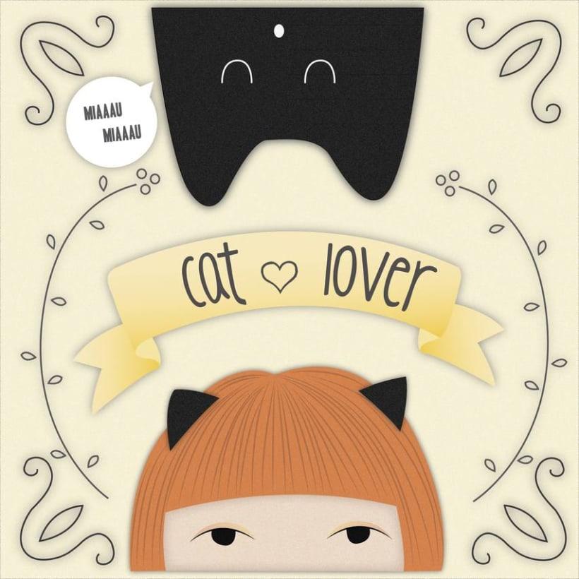 Ilustraciones Chica y gato 1