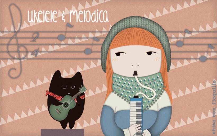 Ilustraciones Chica y gato 2