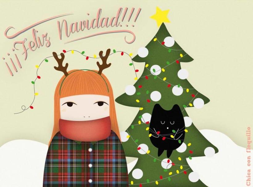 Ilustraciones Chica y gato 5