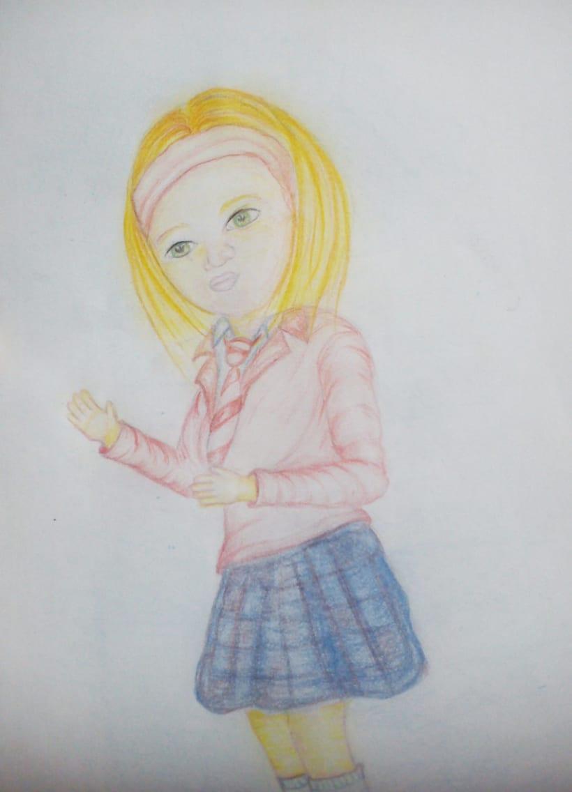 Chica con uniforme escolar - Dibujo hecho a mano -1