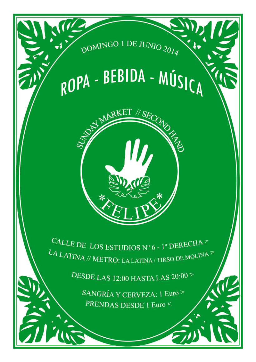 Logotipo y flyer para Felipe Sunday Market- Mercadillo de segunda mano. 0