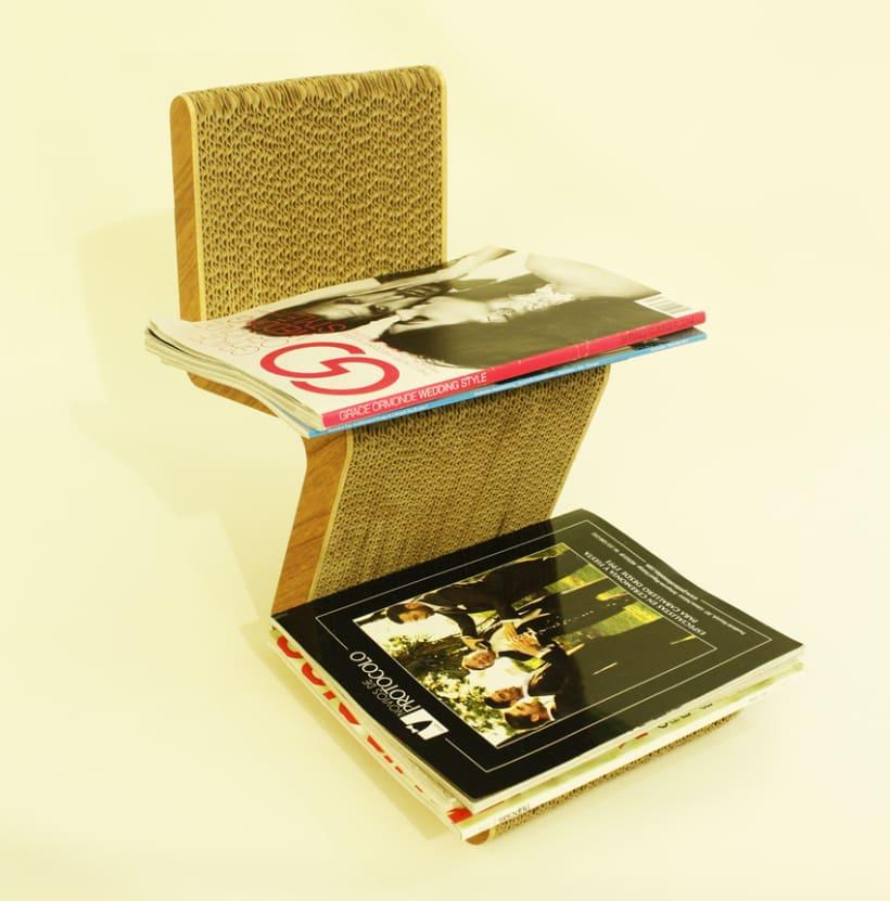 Librero de Piso vertical, fabricado de cartón -1
