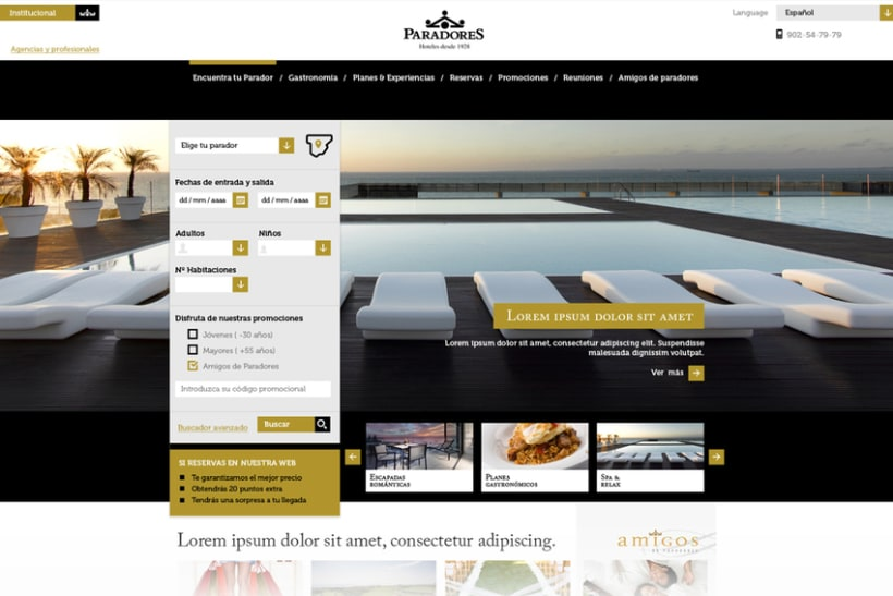 Rediseño web de Paradores nacionales -1