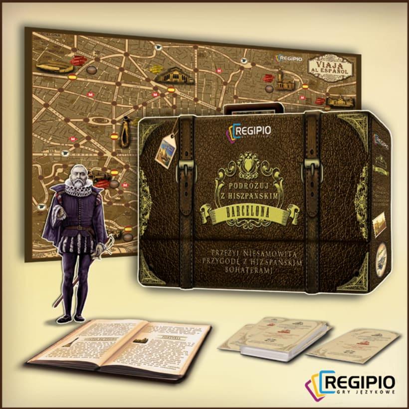 """PAKAGING:  """"Travel to Spanish"""" Regipio`s Desk Game  1"""