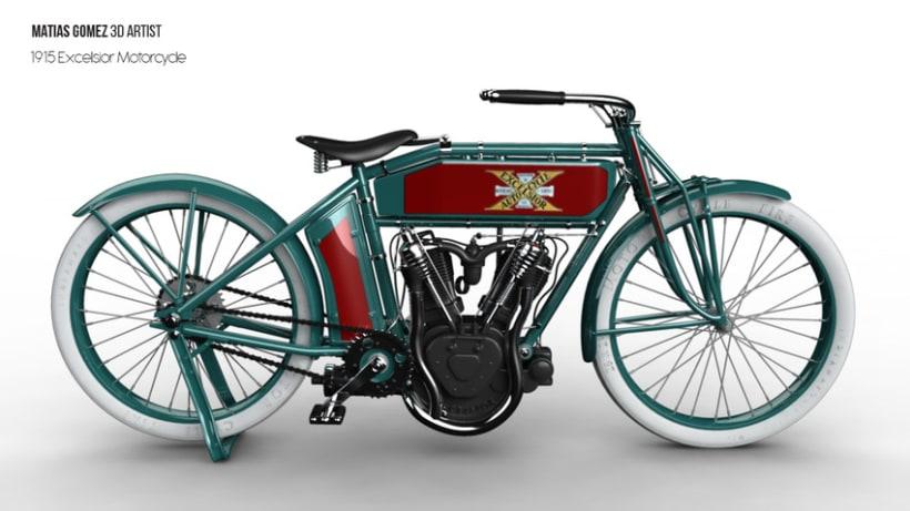 Excelsior Motorcycle 3D Model 1