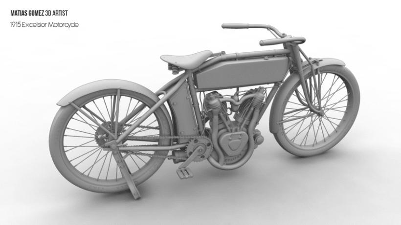 Excelsior Motorcycle 3D Model 3