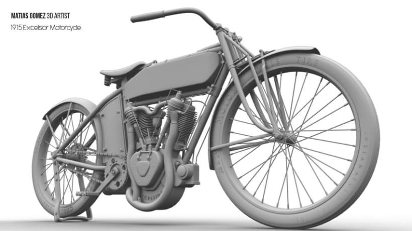 Excelsior Motorcycle 3D Model 6