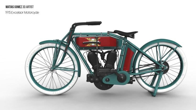 Excelsior Motorcycle 3D Model 0
