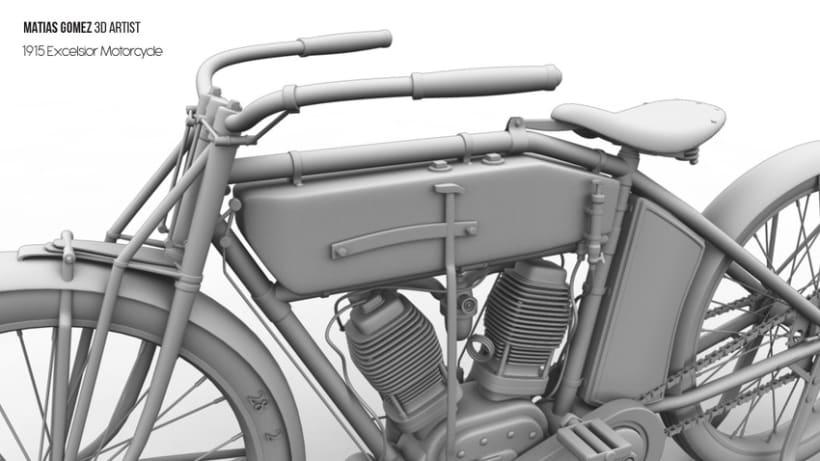Excelsior Motorcycle 3D Model 7