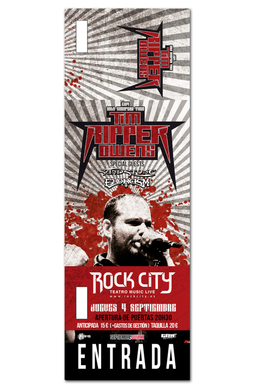 TIM RIPPER OWENS | poster + ticket + pase + pantallas 1
