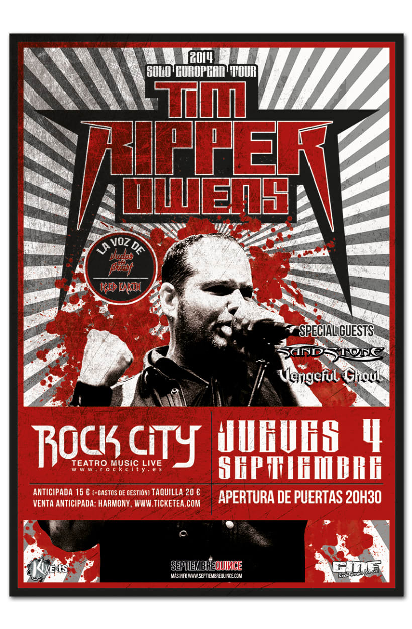 TIM RIPPER OWENS | poster + ticket + pase + pantallas 0