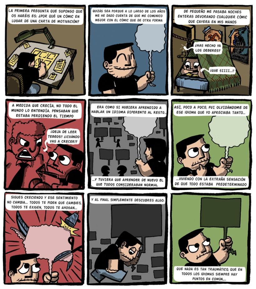 """""""CARTA DE MOTIVACIÓN"""" Máster de Novela Gráfica 8"""