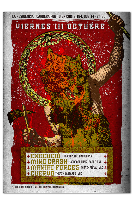 EXECUCIÓ + MIND CRASH + MANIAC FORCES + CUERVO | poster 0