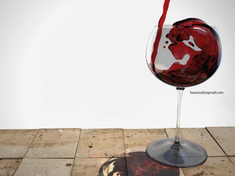 Copa de vino con RealFlow. Vray&Maxwell 1