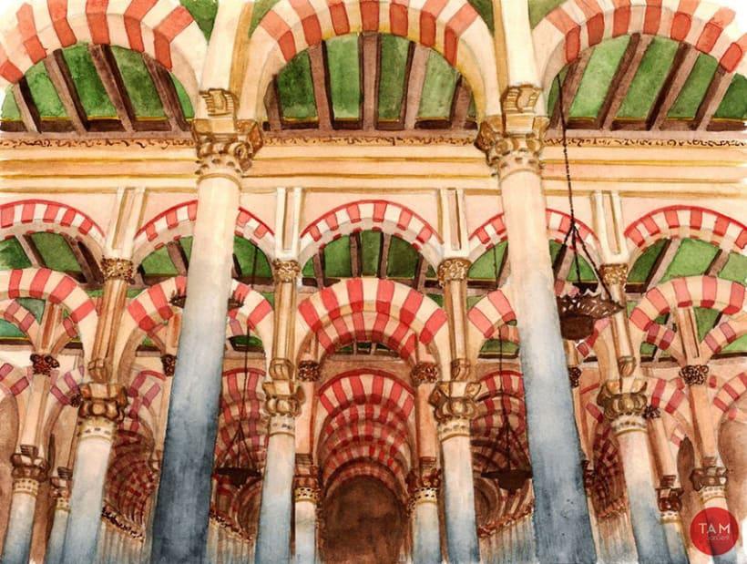 Acuarela: Mezquita de Córdoba 12
