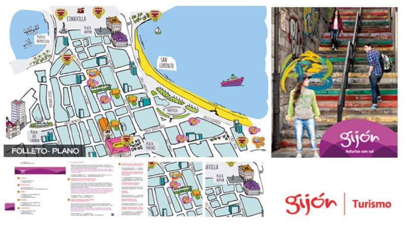Gij n turismo folleto y plano domestika for Oficina de turismo gijon