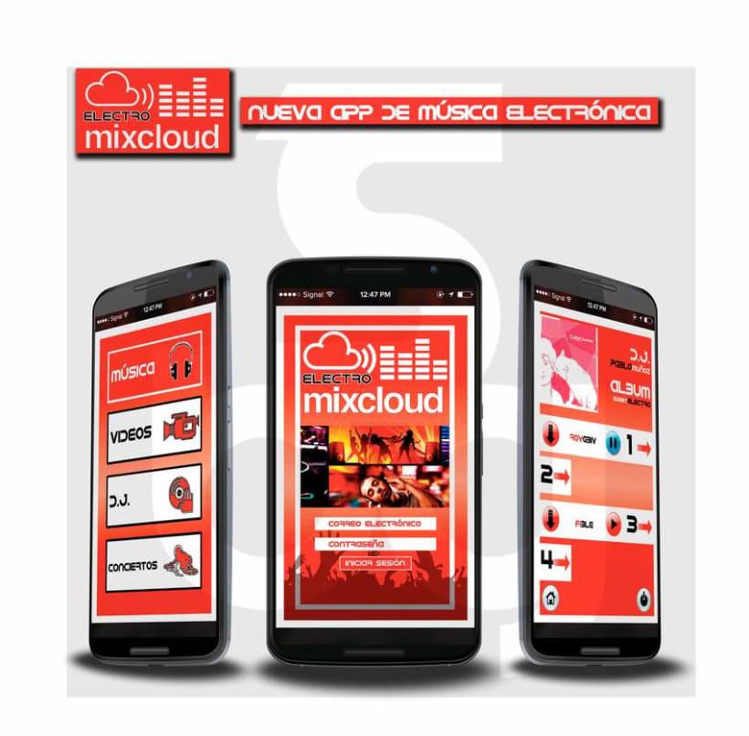 "Diseño app de música electrónica. ""Electro mixcloud"" 1"