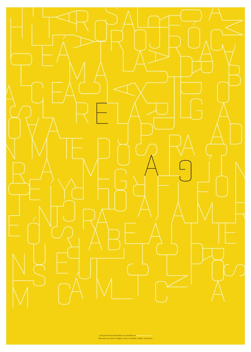 Poster tipográfico para la Escuela de Arte de Granada  1
