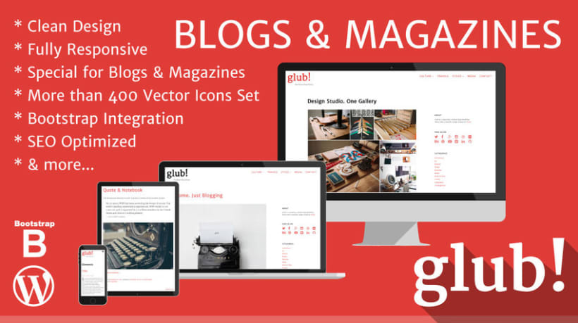 Glub! – Clean & Responsive WordPress Blog Theme 0