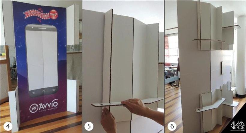 Agencia Visual Gloow / Claro Avvio - Stands armables en cartón 2