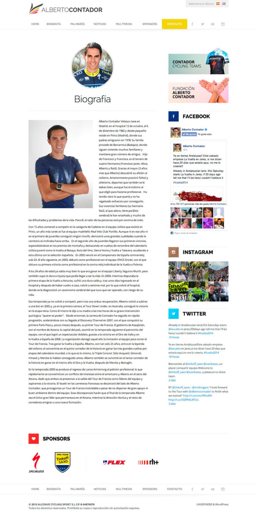 Web personal Alberto Contador 0