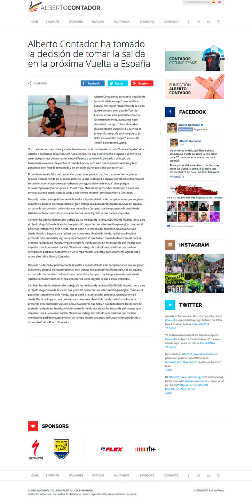 Web personal Alberto Contador 1