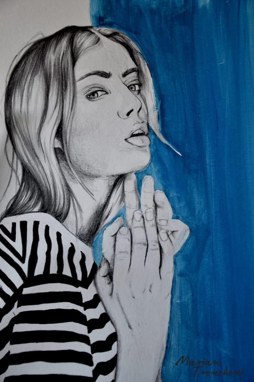 Ilustración Girl on stripes -1