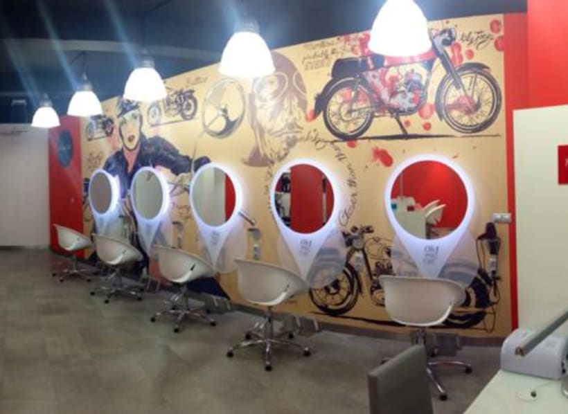 Wall print for Oh My Cut...! hairdresser shop in Barcelona 1