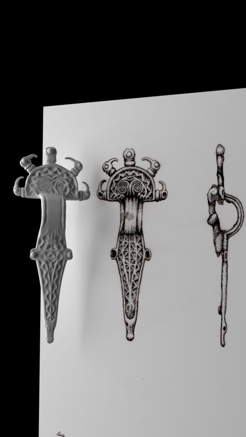 Fíbula Visigoda, modelada desde ilustración. 1