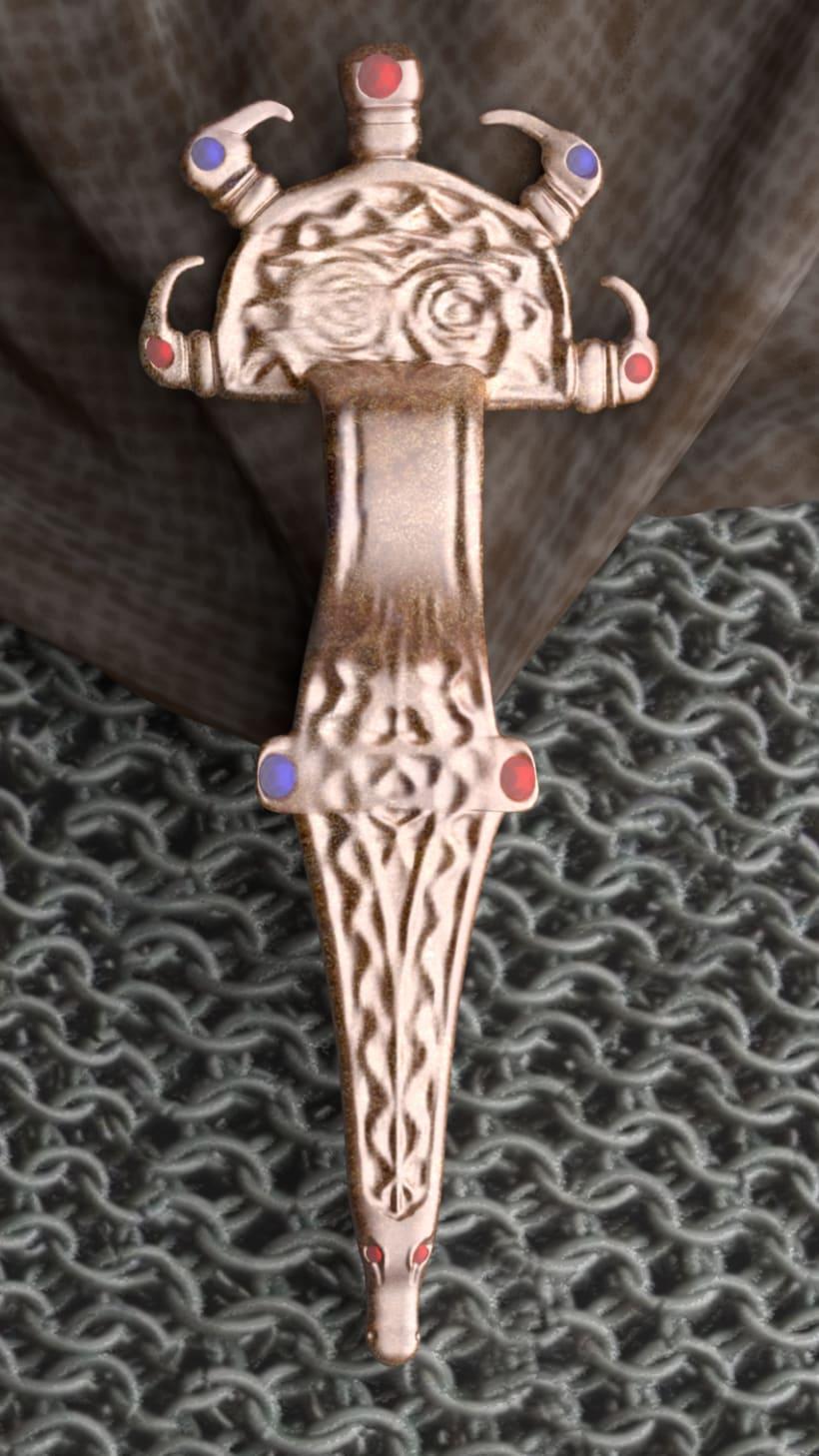 Fíbula Visigoda, modelada desde ilustración. 3