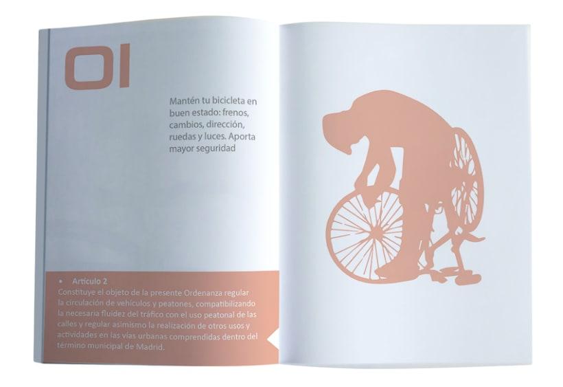 """Folleto """"Consejos Prácticos para el ciclismo urbano de Madrid"""" 3"""