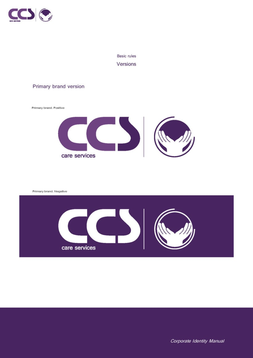Diseño de logotipo y manual de identidad corporativa. CCS Care Serv. UK 2013 12