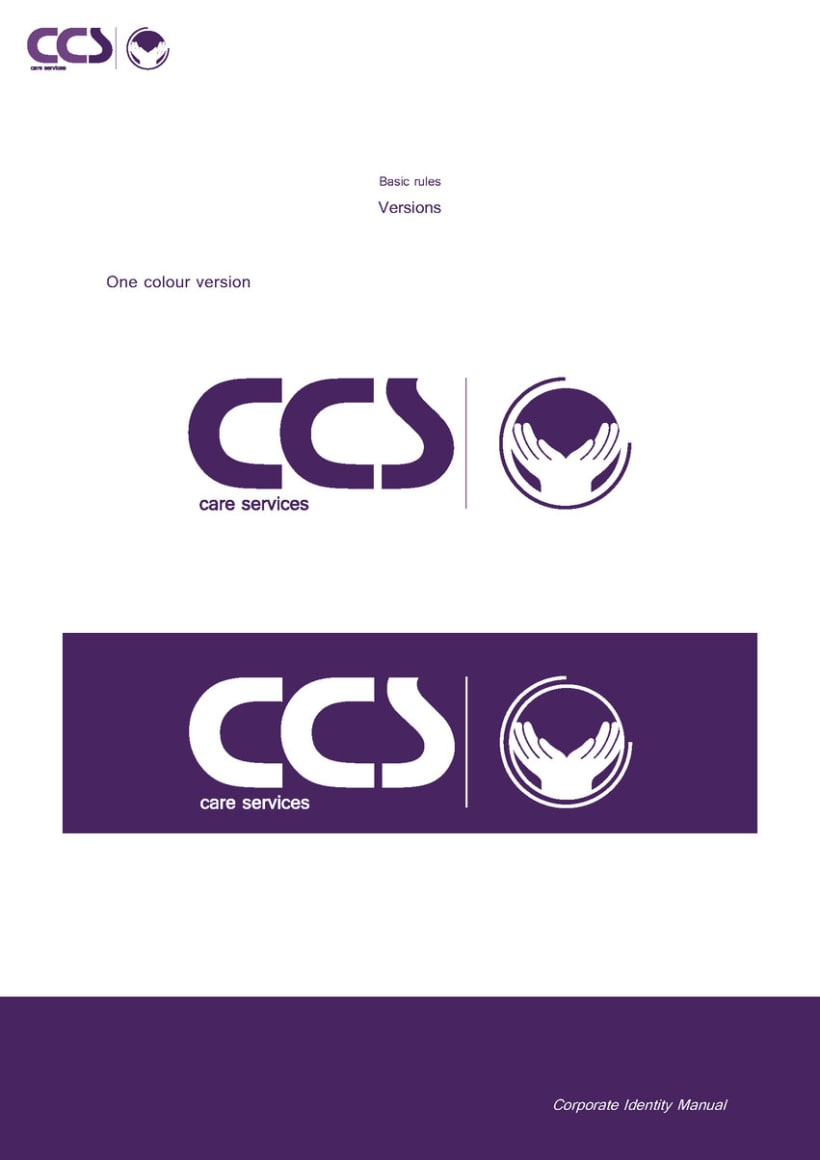 Diseño de logotipo y manual de identidad corporativa. CCS Care Serv. UK 2013 14