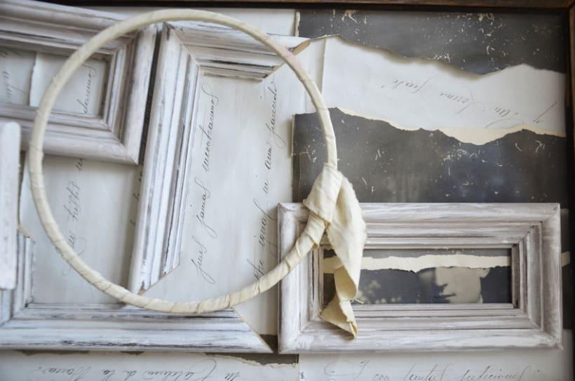 """""""Hombre Ambivalente"""". Montaje Técnica Mixta Collage Arte. Fotografía, madera, papel manuscrito, bastidor con tejido. Técnica Upcycling. 3"""
