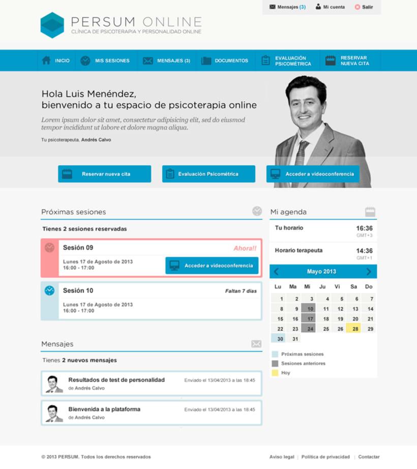 Plataforma videoterapia PERSUM Online 2