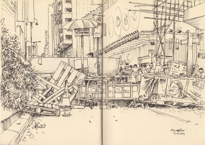 """Dibujando """"Occupy Central"""" en Hong Kong 3"""