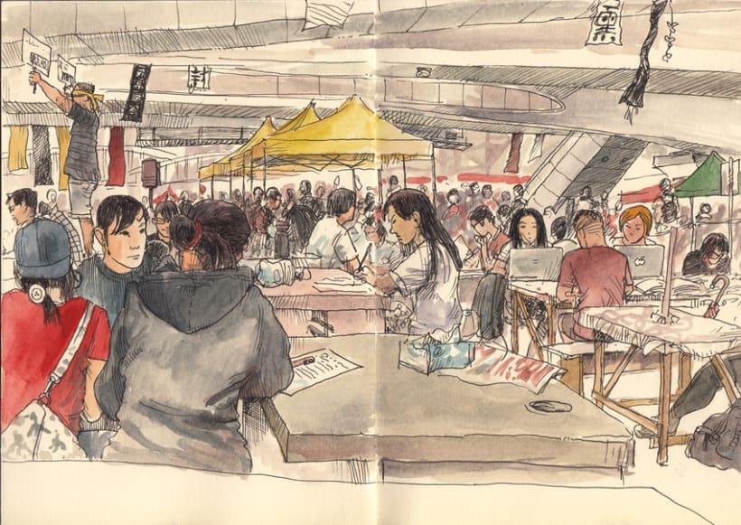 """Dibujando """"Occupy Central"""" en Hong Kong 6"""