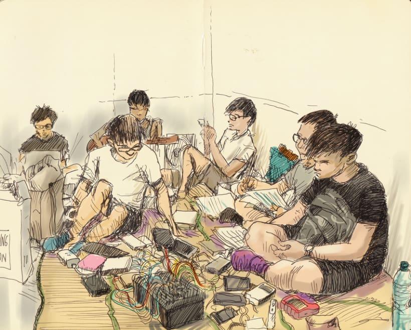 """Dibujando """"Occupy Central"""" en Hong Kong 7"""