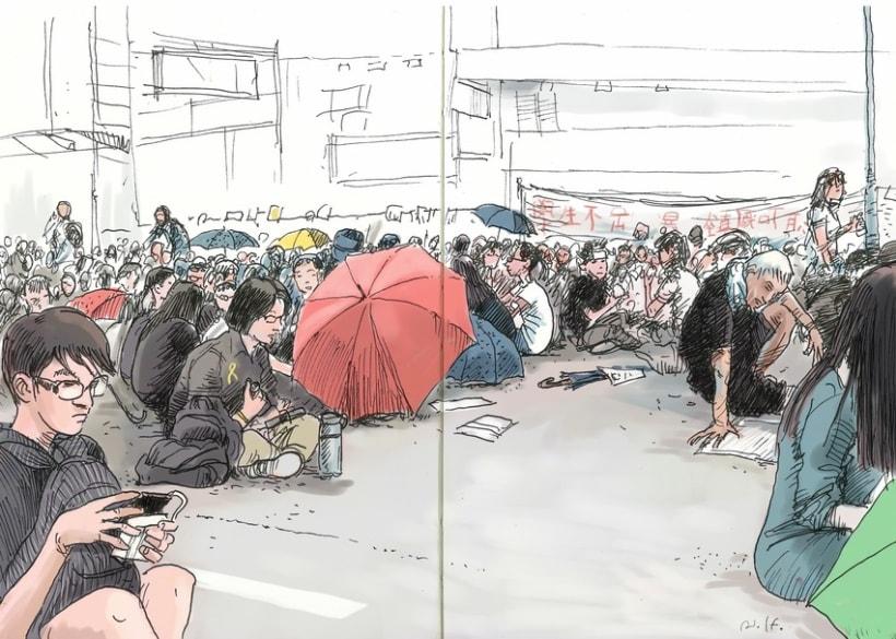 """Dibujando """"Occupy Central"""" en Hong Kong 1"""
