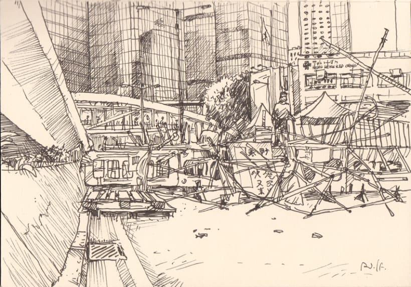 """Dibujando """"Occupy Central"""" en Hong Kong 13"""