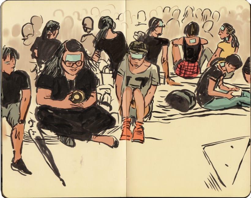"""Dibujando """"Occupy Central"""" en Hong Kong 14"""