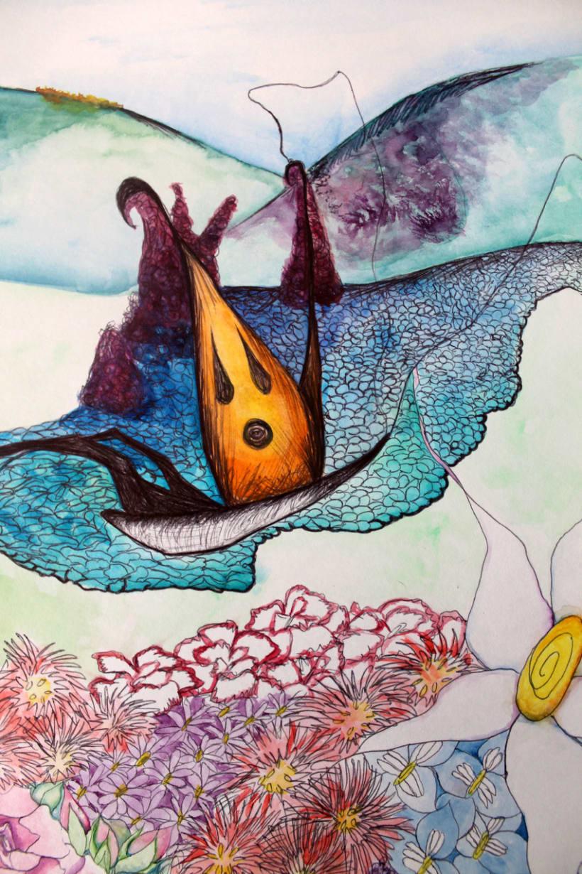 """Ilustración para """"La Mariposa"""" de Hans Christian Andersen"""" -1"""