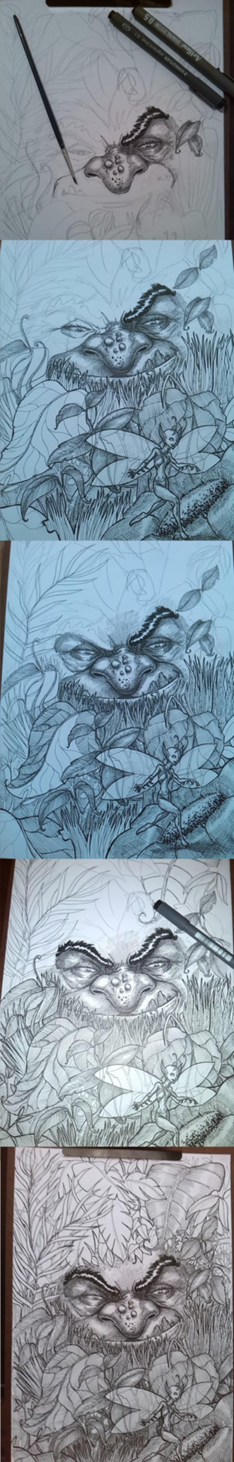 hada y troll, ilustración en tinta y agua -1